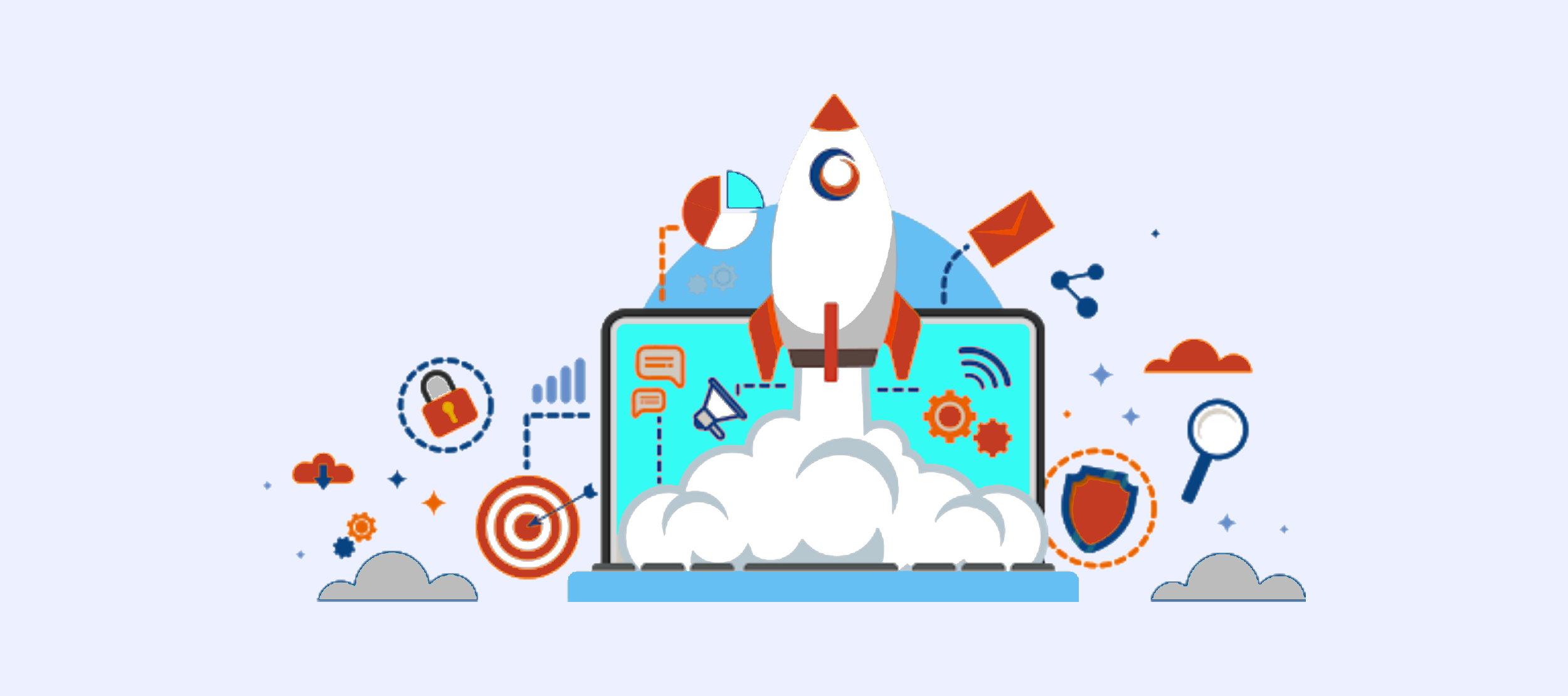 rocket coming out of a computer representing launching a business