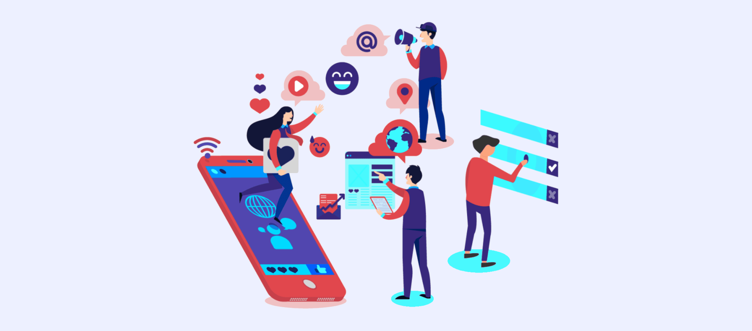 people working with digital marketing illustration